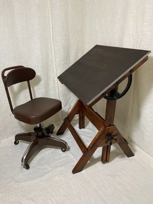 Vintage HAMILTON Industrial Drafting Table AND Chair FREE DELIVERY for Sale in Brooklyn, NY