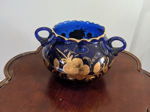Blue and gold glass serving dish decor for Sale in Rockville, MD