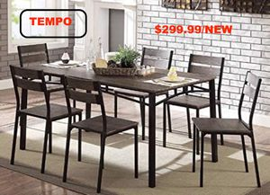 7 PC Metal Dining Set, Antique Brown & Black for Sale in Fountain Valley, CA