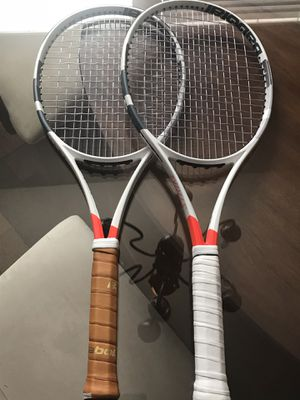 2 Babolat Pure Strike Tennis Rackets + 4 sets of string for Sale in Houston, TX