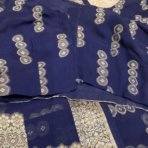 Navy Blue Chiffon Jamawar Stiched Saree With Stiched Blouse for Sale in Ashburn, VA