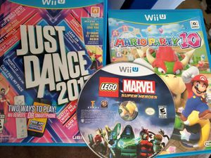 3 Wii U games Mario Party 10, Just Dance 2017, Lego Marvel for Sale in Gilbertsville, KY