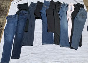 12 pair lot of name brand pants jeans dress Gap Levi's The Limited size 8 for Sale in Painesville, OH