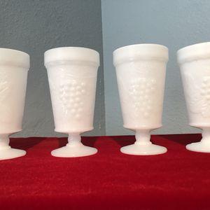 Vintage White Milk Glass Pedestal Goblets Harvest Grape for Sale in Tempe, AZ