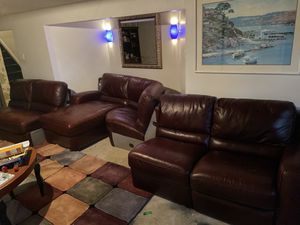 brown sectional leather couch recliner on the end for Sale in Gahanna, OH