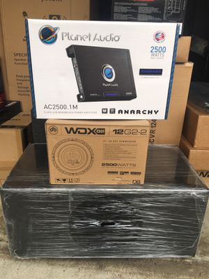 "Planet Audio 2500 Watt Amp + DB Drive 12"" G2 2500 Watt Woofer + Ported Super Bass Pro Box for Sale in Mesquite, TX"