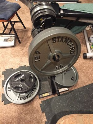 Weights 320lbs plus rack for Sale in Puyallup, WA