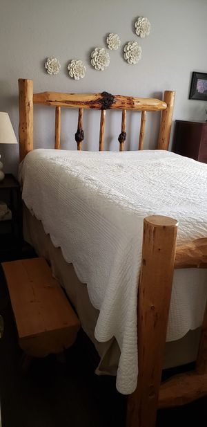Solid pine Queen bed frame and matching bedside tables for Sale in Huntington Beach, CA