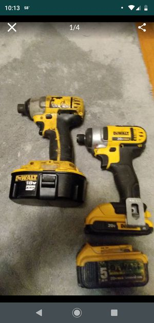 2 dewalt impact drills and extra battery for Sale in Kansas City, MO