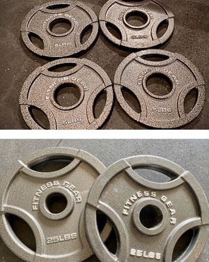 2 x 25lb Olympic Plates & 4 x 5lb for Sale in Sanger, CA