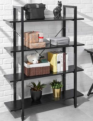 4 Tier Bookcase Solid 130lbs Load Capacity Industrial Bookshelf, Sturdy Bookshelves with Steel Frame, Storage Organizer Home Office Shelf BLACK for Sale in Ontario, CA