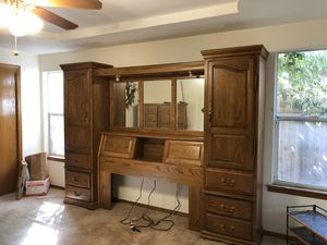 Bed headboard with cupboards and bookshelves. Has a matching dresser! for Sale in Visalia, CA