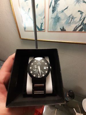 **!** A Bulova Men's Diamond Black Stainless Steel Bracelet Watch for Sale in Fresno, CA
