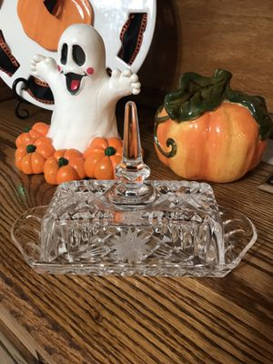 Old, old cut glass butter dish for Sale in Yorba Linda, CA