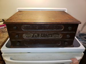 Antique Spool Cabinet J & P COATS 3 DRAWER LARGE for Sale in Jersey City, NJ