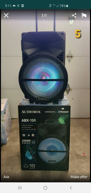 """New 15"""" subwoofer 2,400 watts, Bluetooth, rechargeable, usb, sd, tf, fm, microphone, remote control for Sale in Riverside, CA"""