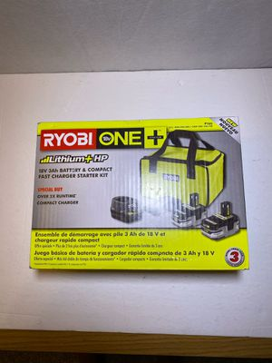 Ryobi one +3.0 ah batteries starter kit with charger and bag for Sale in San Dimas, CA