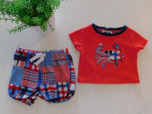 Mud Pie Baby Boys 0-6 Month Boathouse Crab Top Plaid Madras Shorts Summer Outfit for Sale in Tacoma, WA