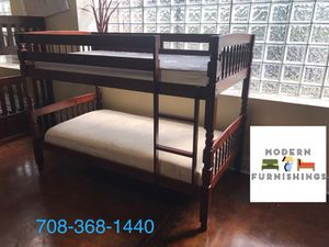 Walnut Finish Bunk Bed! All Wood! Twin Over Twin Bed!! for Sale in Chicago, IL