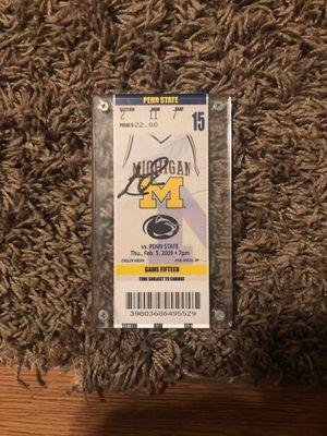 Zach Novak Michigan Basketball Autographed Ticket for Sale in Grand Rapids, MI