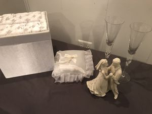 Wedding set (ring pillow, card box, champagne glasses, cake/table topper for Sale in Annapolis, MD
