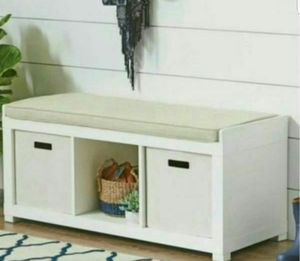 Accent/entryway bench with storage and upholstered cushion new in box for Sale in Moreno Valley, CA