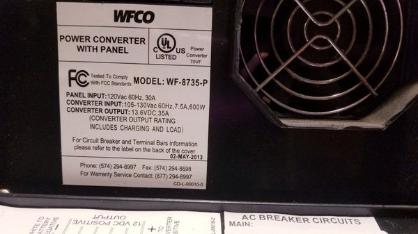 WFCO power converter with panel