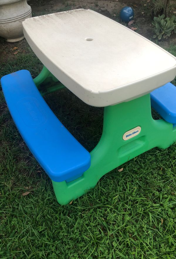 Little tikes blue and green play set swing slide and picnic table