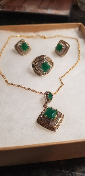 STERLING SILVER WITH EMERALD JEWELRY SET for Sale in Annandale, VA