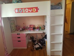 IKEA Kids Loft Bed with 2 drawers, 2 doors, book shelves , desk, wardrobe. for Sale in Columbus, OH