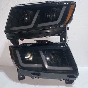 2011 to 2013 Jeep Grand Cherokee [Halogen Model] LED DRL Projector Headlights - Black Smoked / Amber for Sale in Los Angeles, CA