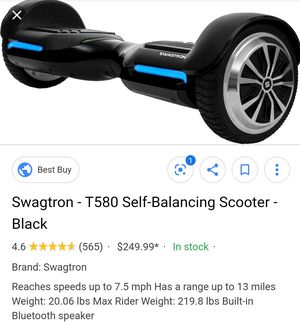 Swagtron Hoverboard with bluetooth speaker for Sale in Bonney Lake, WA