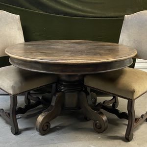 Heavy Solid Wood Round Table With 2 Chairs for Sale in Newport Beach, CA