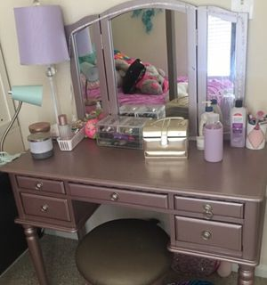 Rose/pink gold makeup vanity desk and folding mirror for Sale in Ashburn, VA