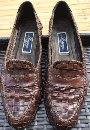 COLE HAAN Bragano Chestnut Brown woven Leather Penny Loafers 9.5N Italian Shoe for Sale in Mableton, GA
