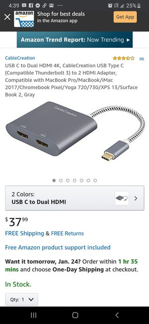 USB C to Dual HDMI 4K, CableCreation USB Type C (Compatible Thunderbolt 3) to 2 HDMI Adapter for Sale in Hawthorne, CA