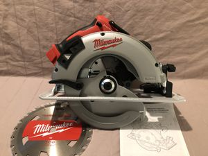 """Brand new never used Milwaukee M18 brushless 7-1/4"""" blade circular saw. Tool and blade only for Sale in Vacaville, CA"""
