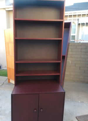 Bookshelves With Cabinet...32 inches wide X 79.5 inches tall. Shelves 10.5 inches wide. Bottom Storage Cabinet extends 22 inches from wall. for Sale in Glendale, CA