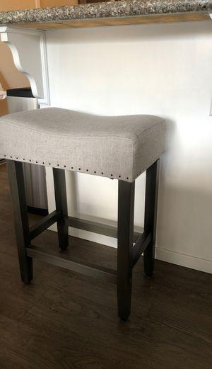 "Threshold saddle counter stool 24"" gray linen for Sale in Roseville, CA"