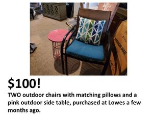Outdoor furniture set, chairs and side table for Sale in Tampa, FL