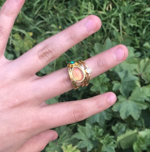 14 karat gold plated moonstone ring for Sale in Chula Vista, CA