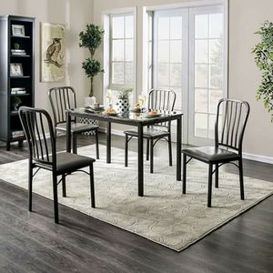 5 PIECE DARK GRAY / GREY FAUX MARBLE TABLE TOP KITCHEN DINING TABLE SET for Sale in Jurupa Valley, CA