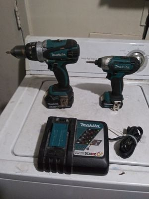 MAKITA hammer drill 18v. And impact 12v. Charger working Exellent for Sale in San Antonio, TX