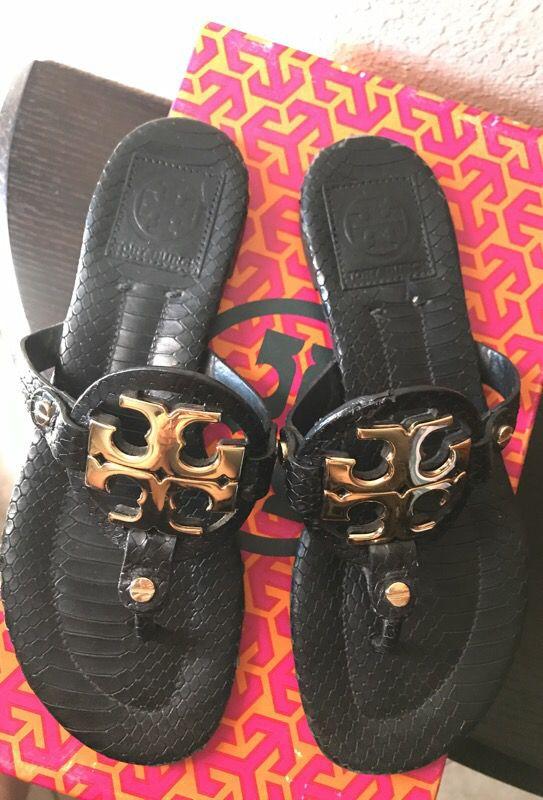 cbf1a238328d Tory Burch Size 5 Miller 2- black snake skin gold hardware for Sale ...