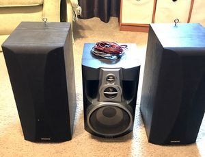 2 Onkyo speakers and a center speaker with speaker wire! for Sale in San Diego, CA