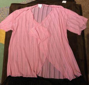 LulaRoe Pink Crochet Duster scarf jacket with fringe for Sale in Turlock, CA