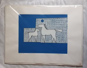 "A vintage original linoleum block print titled ""BLUE MOON IV"" by Seattle Artist Linnea Lundmark for Sale in Tacoma, WA"