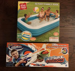 Summer Pool Bundle - 10 foot Family Pool and Nerf Super Soaker Crossbow for Sale in Concord, NC