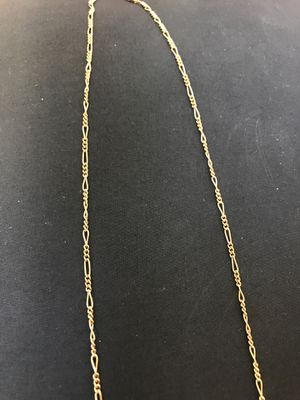 14K gold figaro chain link 22 inches for Sale in Placentia, CA