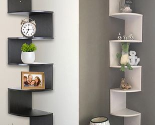 """(NEW) $25 each (Black or White) Corner 5-Tiers Wall Mount Zig Zag Wood Shelf Home Furniture 8""""x8""""x48"""" for Sale in El Monte,  CA"""